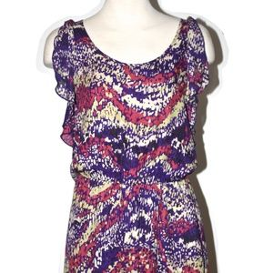 PARKER MULTICOLOR DESIGNS SILK DRESS SIZE MEDIUM